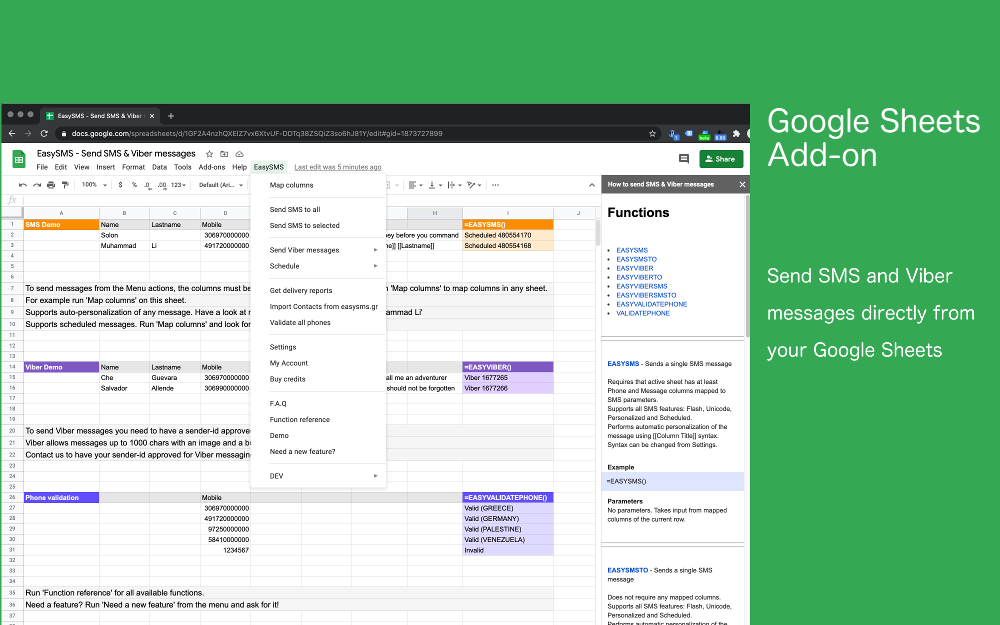 EasySMS Add-on for Google Sheets
